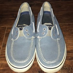 SPERRY BLUE CANVAS SHOES, MENS 11 1/2